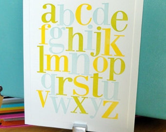 Letterpress alphabet print in yellow, lime green and sky blue for Nursery or Child's Room