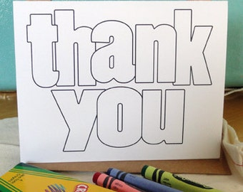 Coloring thank you notecards and envelopes - BULK set of 20 (no crayons or fabric bag)