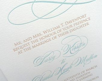 Classic Swirl letterpress wedding invitation - lagoon blue and sand - SAMPLE