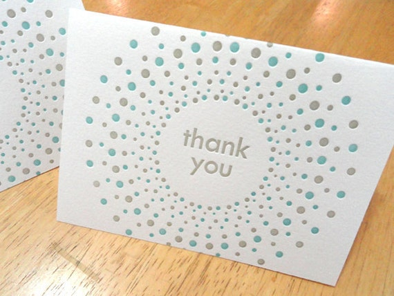 Candy Dots style letterpress thank you notecards and envelopes in lagoon and taupe (set of 8)