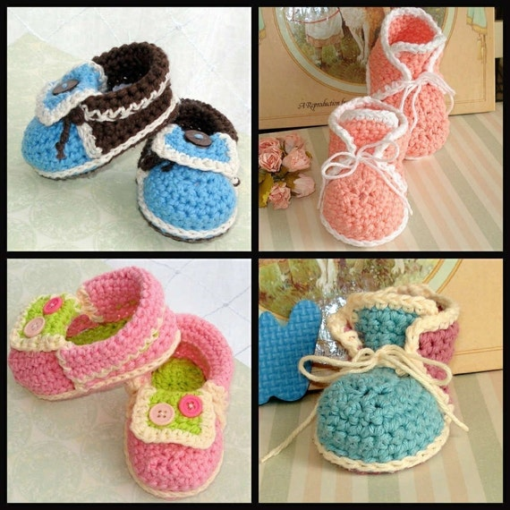 Free Crochet Pattern For Baby High Tops : Baby booties crochet 2 patterns High Tops and by Genevive ...