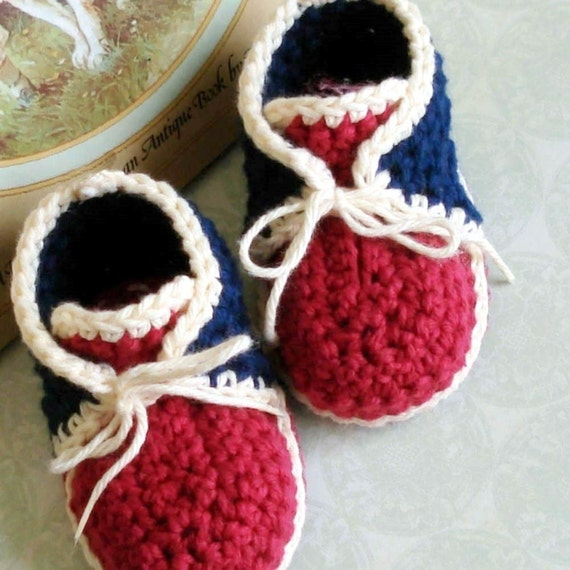 Free Crochet Baby High Tops Pattern : Crochet Pattern baby booties vintage inspired high by Genevive