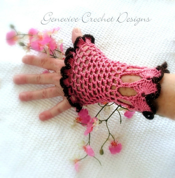 Instant Download - Crochet Pattern - Victoria Goth Gloves Romantic Vintage PDF 23
