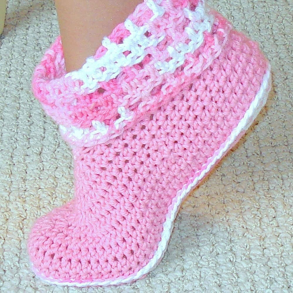 Free Crochet Patterns On Etsy : Crochet pattern Women and Kids Cuffed Boots by Genevive on ...