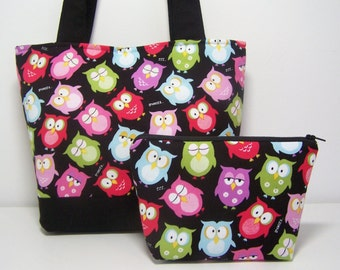 Black Owls Purse Set Medium Tote Bag with Cosmetic Pouch and Pocket Mirror