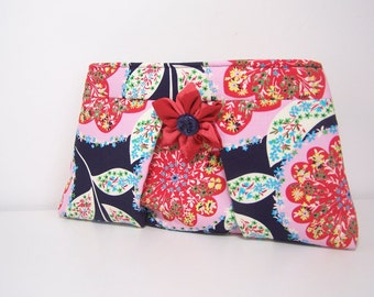 Navy Pleated Clutch,  in Lark Navy with Kanzashi Brooch, Large Blue Floral Clutch