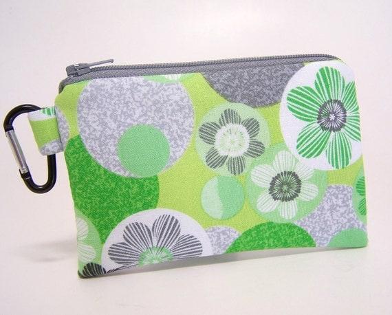 Key Chain Coin purse Lime Floral