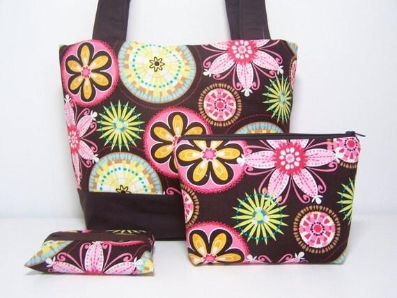 Medium Tote Bag Set Carnival Bloom