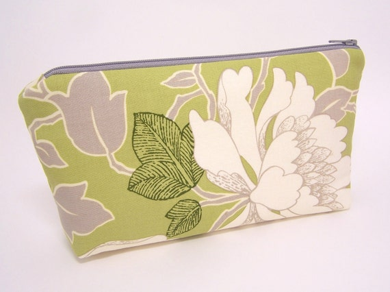 Peony in Lime Cosmetic Pouch