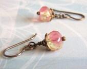 Antique Brass Earrings, Pink and Yellow, Vintaj ear Wire