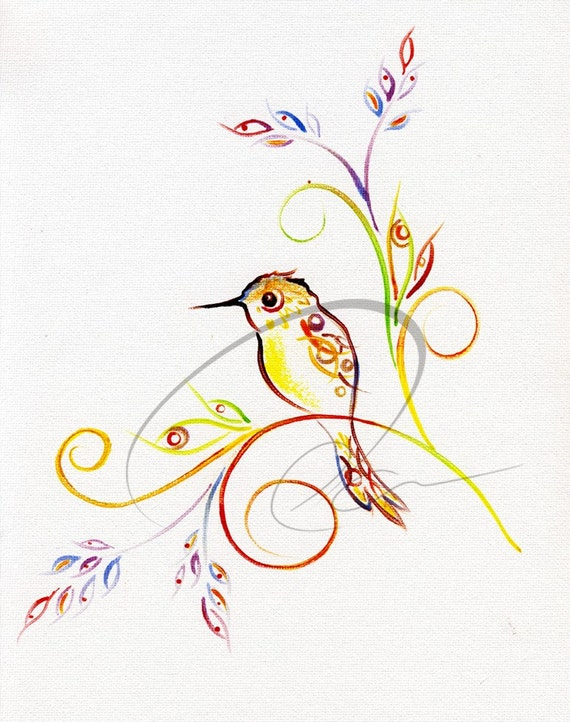 Hummingbird - Watercolor Art Giclee Print Humming Bird Cute Simple Colorful Nursery Room Available in Paper and Canvas by Olga Cuttell