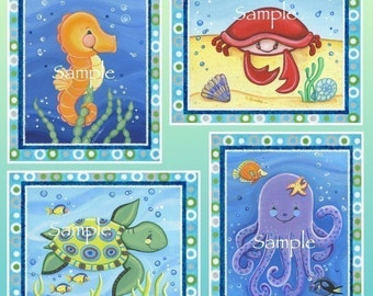 Set of six Sea Creature prints