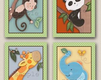 Set of four 8x10 Jungle animal (and panda :) nursery/kids art prints