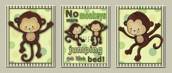 Set of 3 monkeys jumping on the bed prints