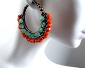 Orange fall earrings, wire wrapped hoops, one of a kind, Bolero