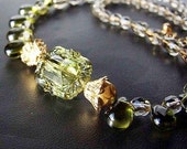 Olivine and Mint Green Necklace. One of a Kind - Bellissima