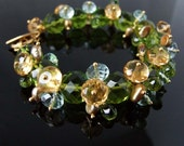 Cordoba - one of a kind green, yellow, blue quartz, pearl, and vermeil bracelet