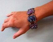 One of a kind bold bracelet in polymer clay and Swarovski crystals, Ciara