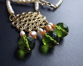 SALE - Half off  - was 79, now only 39USD - Pearl, carnelian, and green quartz necklace. One of a Kind - Queen Anne
