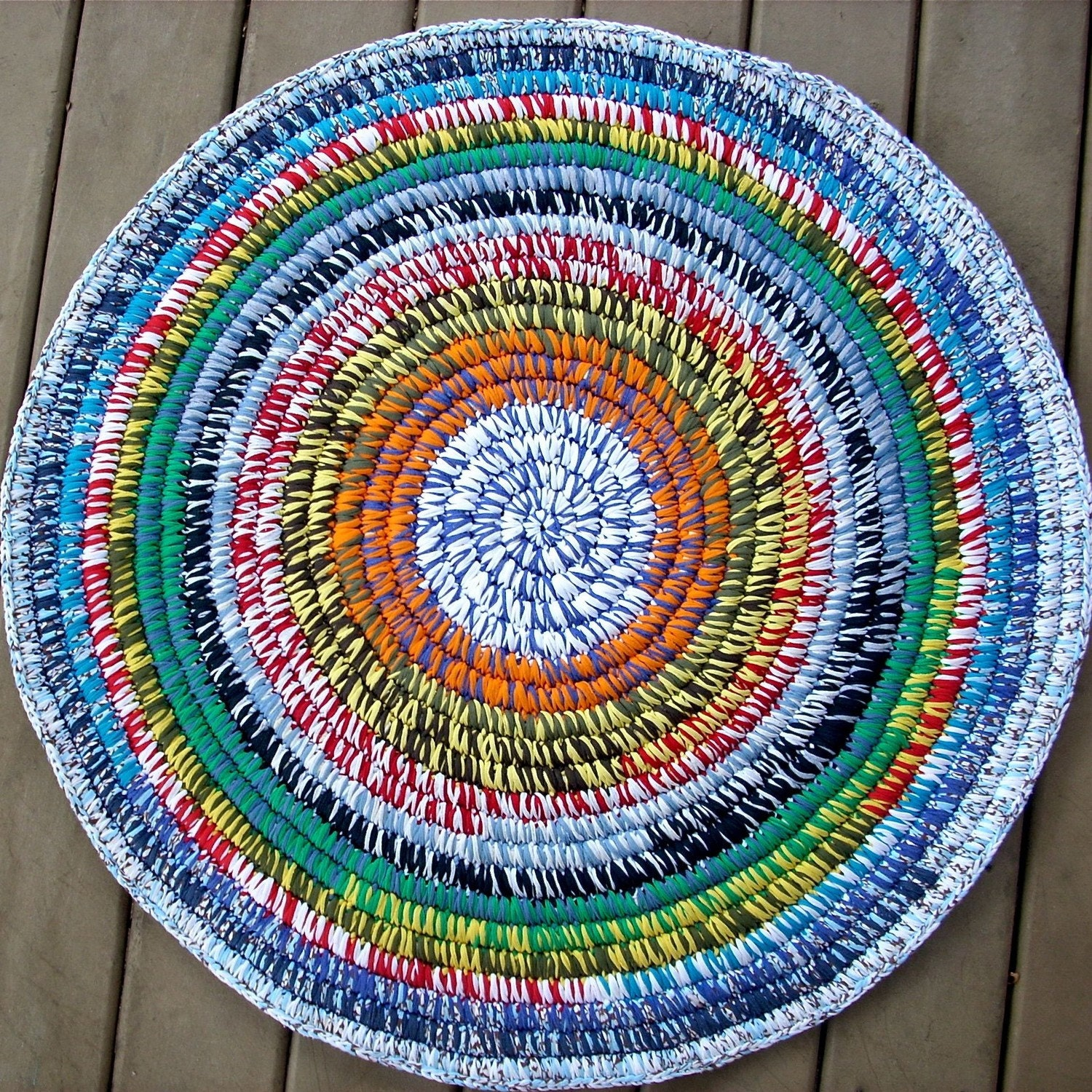 Crocheted Coiled T Shirt Rug
