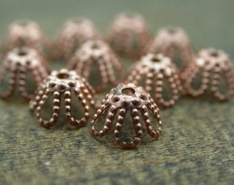 Bead Cap, Floral Bell, Solid Copper 7 mm With 1 mm Hole, Set of 10