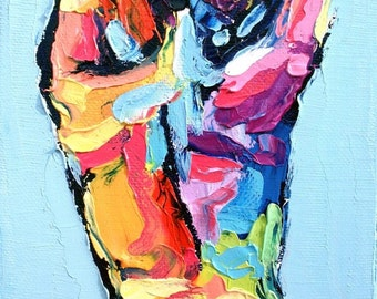 Abstract Nude Art Print - Female Nude - Colorful Nude - Femme 46 - 9x12 giclee reproduction by Aja