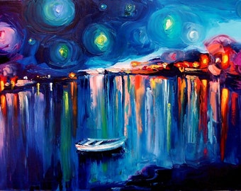 Midnight Harbor XXII - 8x12 abstract boats Lustre print reproduction by Aja ebsq