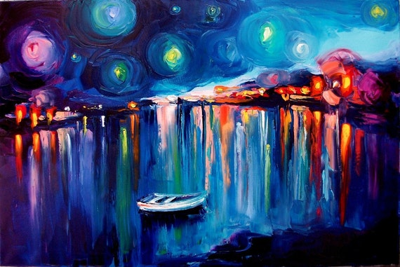 Midnight Harbor XXII - 8x12 abstract boats signed Lustre print reproduction by Aja ebsq
