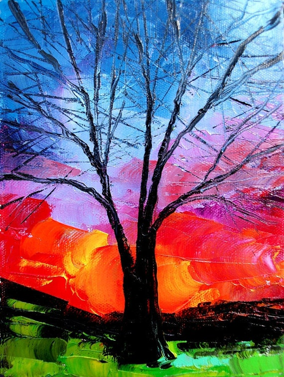 Landscape oil painting original art by Aja - Story of the Tree 54 6x8 inches