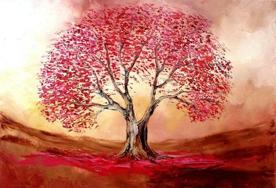 Original painting landscape oil tree huge 2x3 foot art by Aja
