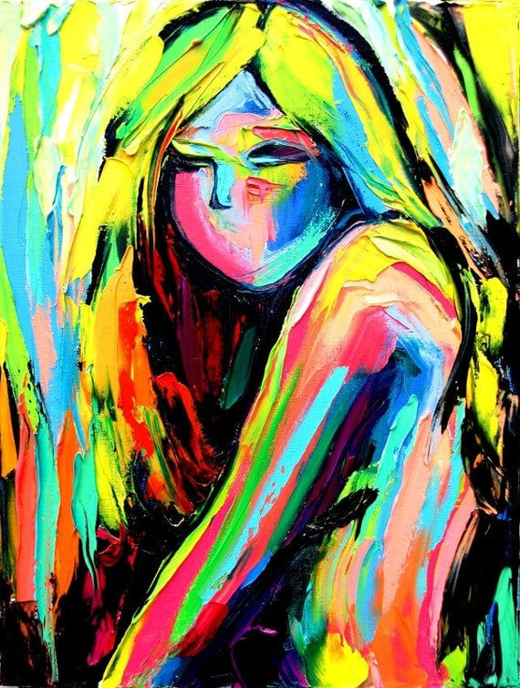 SALE Original abstract oil painting female nude by Aja
