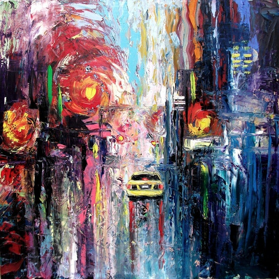 Abstract painting original oil city landscape impasto art by Aja