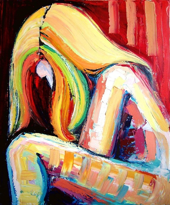 Rise to Submission - 20x24 abstract female nude original oil painting by Aja