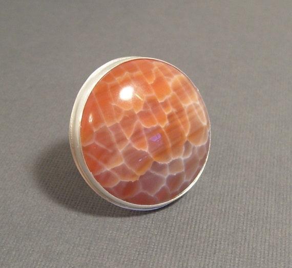 Honeycomb Chalcedony Ring - Brilliant Orange, Unusual, Unique, OOAK, Bohemian, Modern