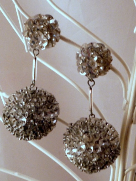 Vintage Silver tone Grey Beaded disco sequins  ball  dangle earrings