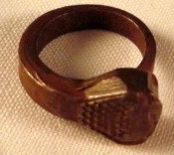 vintage Horseshoe Horse  shoe nail Ring pinky size
