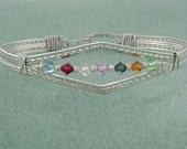 Mothers Bracelet, Family Bracelet, Birthstone Bracelet, Sizeable, Sterling Silver, Banded Wire Bracelet,