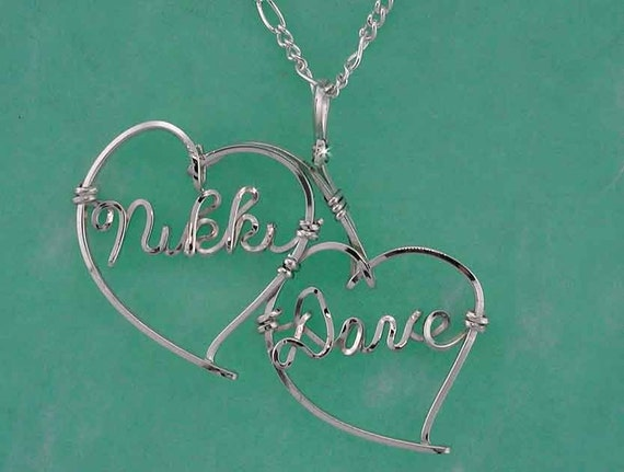 Personalized Sweetheart Necklace  - Two Names in Sterling Silver