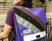Long Purple Backpack with 3 Diagonal Stripes