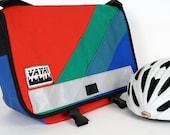 Petite Messenger Bag - Red Canvas w/ 3 Colorful Diagonal Stripes