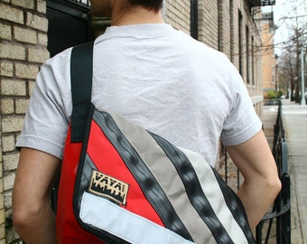 Recycled Bike Tube & Canvas Medi Messenger Bag