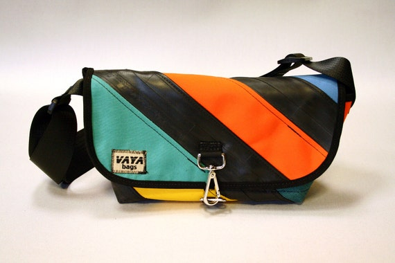 Colorful Recycled Bike Tube & Canvas Striped Purse