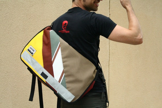 Standard Sized Canvas Messenger Bag - Cocoa Canvas w/ 3 Colorful Stripes