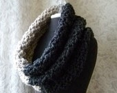 Mammoth Cowl - Chunky Oversized Crocheted Cowl - Charcoal and Linen