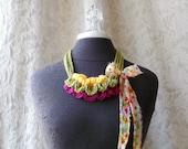 The Palette Necklace in carnival -  Wearable Fiber Art