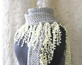 Cloud Fringe Scarf - Dove Grey and Cream