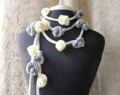 Winding Road Lariat - Crocheted Lariat Scarflette - Dove Grey and Cream
