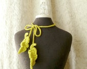 The Palette Feather Lariat in chartreuse - Crocheted Scarflette