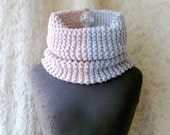 Half & Half Cowl - Knit Cowl Luxury - Dusty Pink and Dove Grey