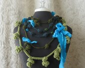 Urban Mermaid. Fiber Art Necklace Trio. Turquoise Teal Green. Ready to Ship.